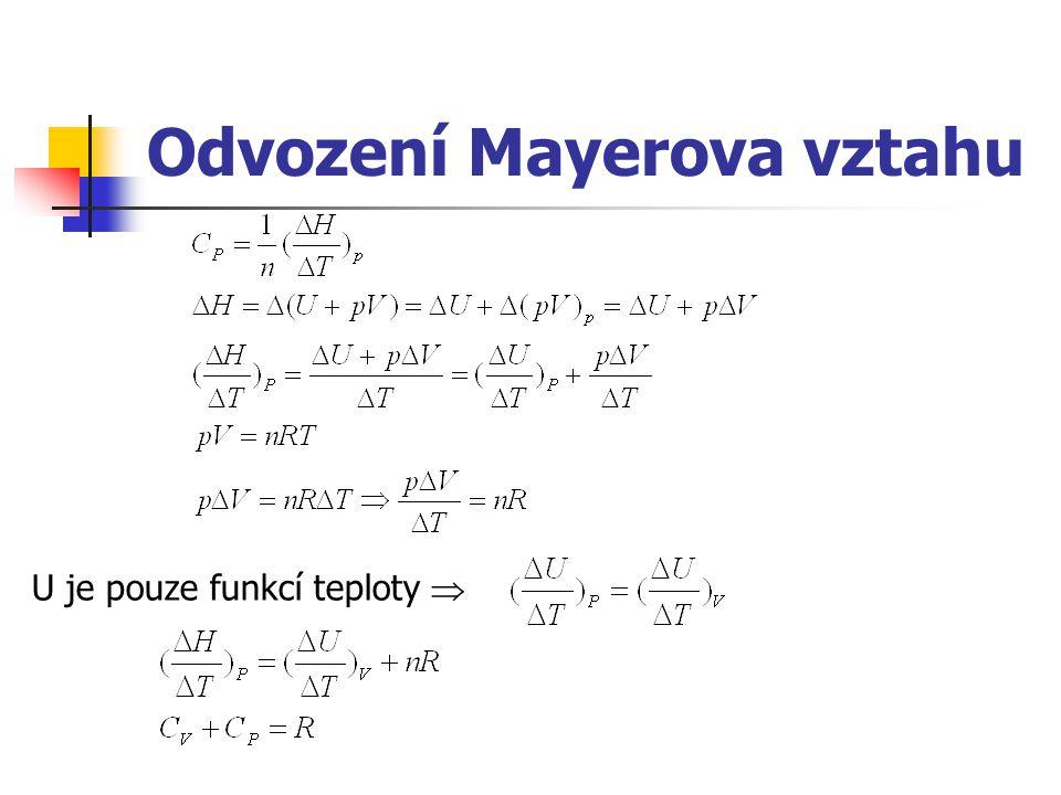 Odvození Mayerova vztahu U je pouze funkcí teploty 