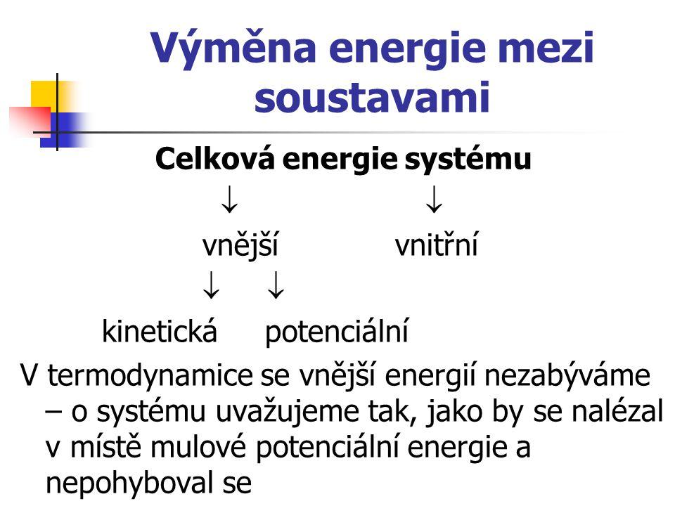 Způsoby výměny energie s okolím Práce – takový způsob výměny energie, při němž působením nějaké síly dochází buď k posunu nebo otočení mikročástic či celých těles Práce plynu  V…změna objemu plynu p…tlak plynu S…plocha na kterou síla působí l…posun tělesa F…síla
