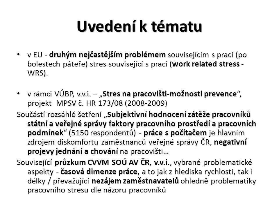Uvedení k tématu • v EU - druhým nejčastějším problémem souvisejícím s prací (po bolestech páteře) stres související s prací (work related stress - WR