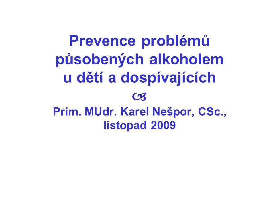 Prevence problémů působených alkoholem u dětí a dospívajících  Prim. MUdr. Karel Nešpor, CSc., listopad 2009