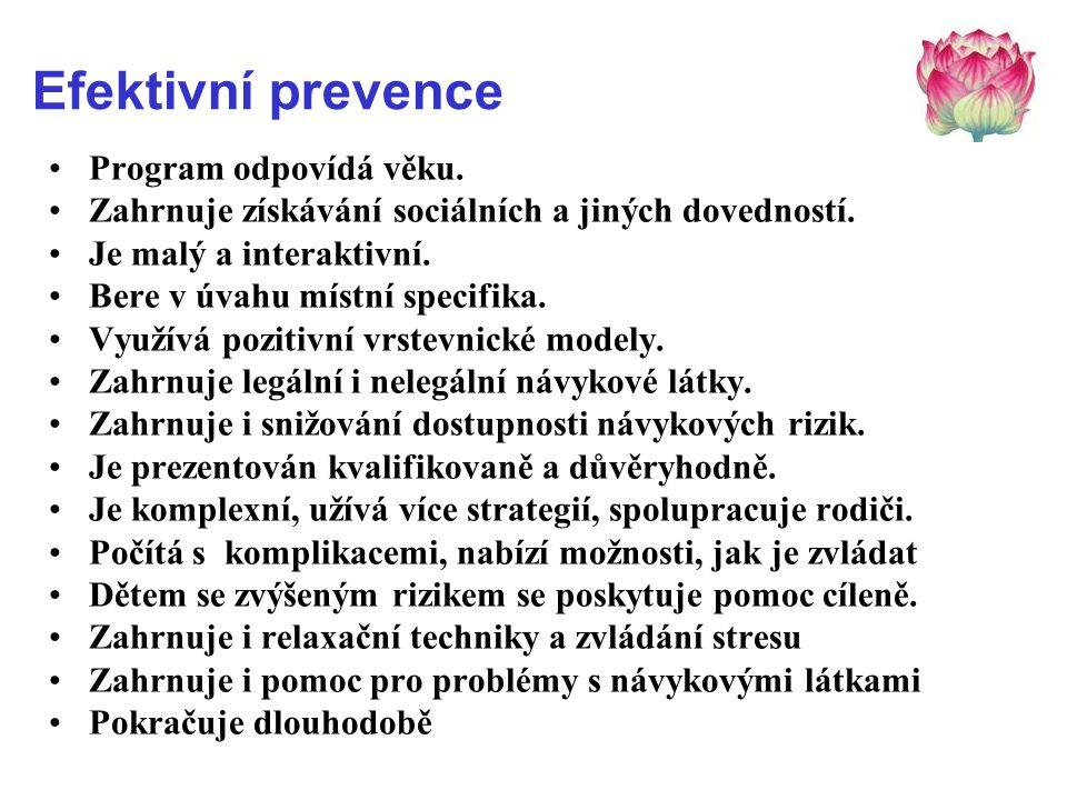 Efektivní prevence •Program odpovídá věku. •Zahrnuje získávání sociálních a jiných dovedností. •Je malý a interaktivní. •Bere v úvahu místní specifika