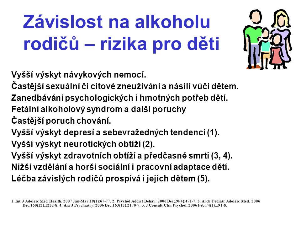 Alkohol u dětí a dospívajících •Otravy po relativně nízkých dávkách.