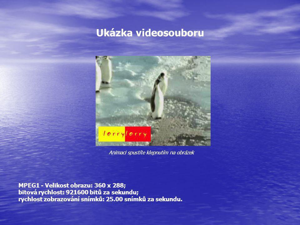 Ukázka videosouboru MPEG1 - Velikost obrazu: 360 x 288; bitová rychlost: 921600 bitů za sekundu; rychlost zobrazování snímků: 25.00 snímků za sekundu.