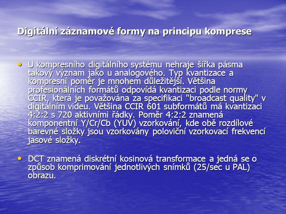 Digitální záznamové formy na principu komprese • U kompresního digitálního systému nehraje šířka pásma takový význam jako u analogového. Typ kvantizac