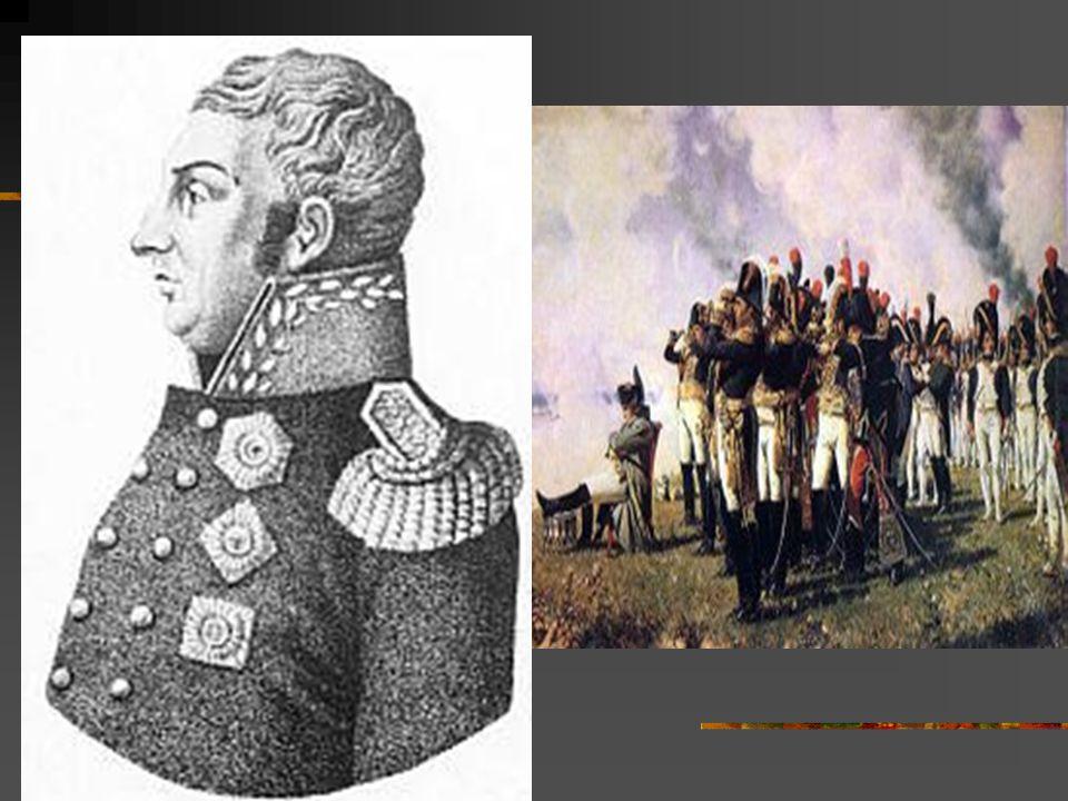 Tažení do Ruska  Podpora Rakouska a Pruska  Vyhýbal se střetu a postupoval směrem k Moskvě  7. 9. 1812 krvavá bitva u Borodina  Protivník generál
