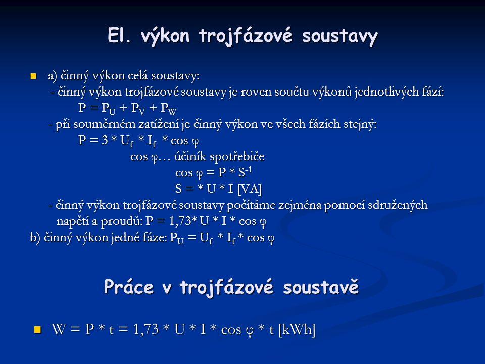 El. výkon trojfázové soustavy  a) činný výkon celá soustavy: - činný výkon trojfázové soustavy je roven součtu výkonů jednotlivých fází: - činný výko