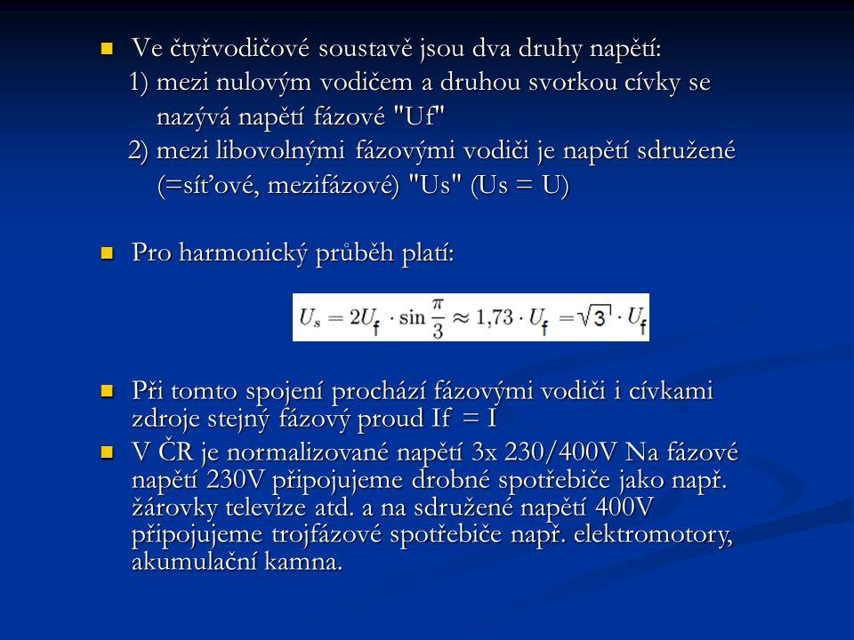  Ve čtyřvodičové soustavě jsou dva druhy napětí: 1) mezi nulovým vodičem a druhou svorkou cívky se 1) mezi nulovým vodičem a druhou svorkou cívky se
