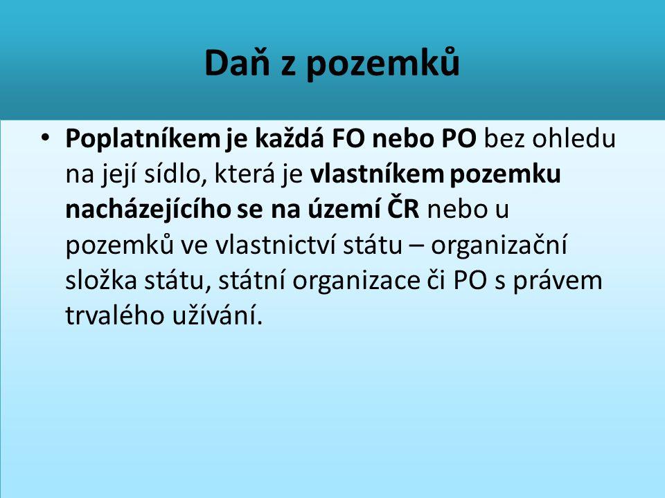 Daň z pozemků • Poplatníkem je každá FO nebo PO bez ohledu na její sídlo, která je vlastníkem pozemku nacházejícího se na území ČR nebo u pozemků ve v
