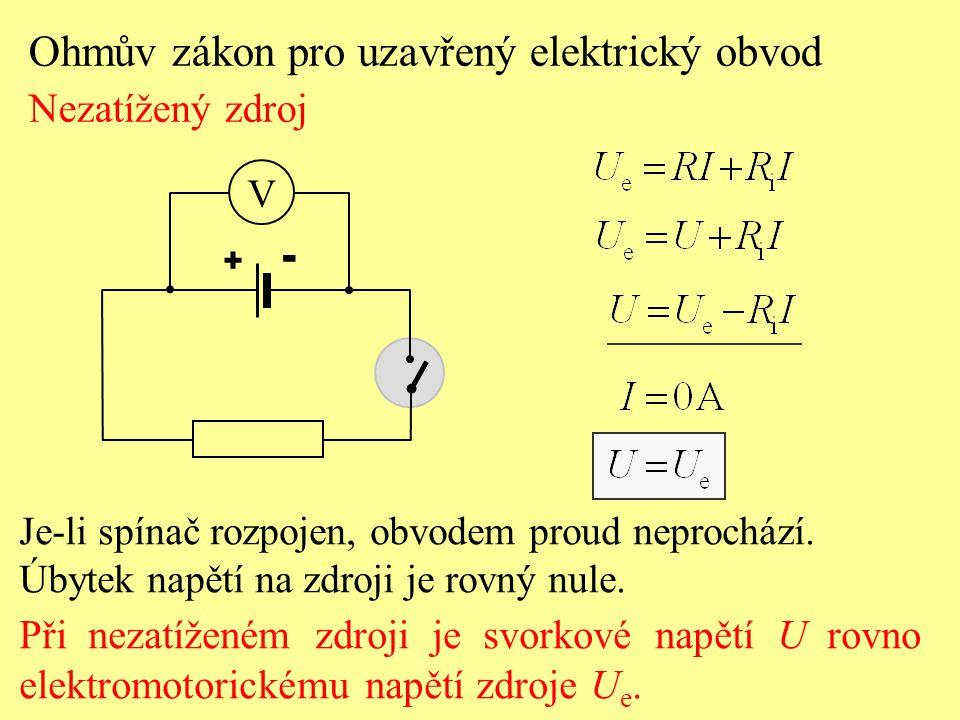 Je-li spínač rozpojen, obvodem proud neprochází. Úbytek napětí na zdroji je rovný nule. Při nezatíženém zdroji je svorkové napětí U rovno elektromotor