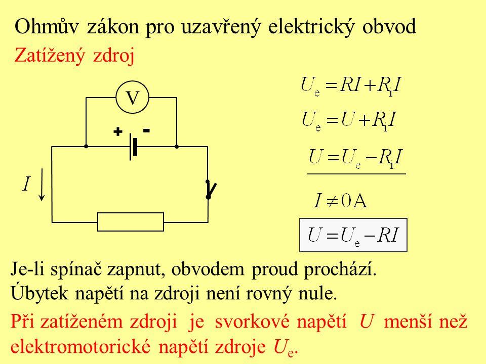 Je-li spínač zapnut, obvodem proud prochází. Úbytek napětí na zdroji není rovný nule. Při zatíženém zdroji je svorkové napětí U menší než elektromotor