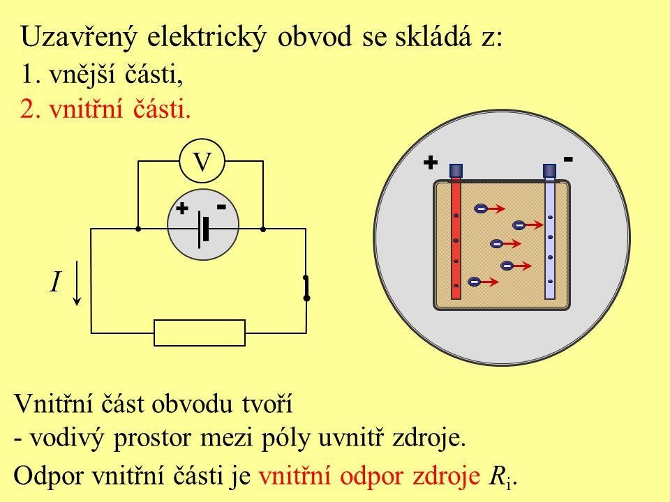 Ze zákona zachování energie vyplývá: - energie vydaná zdrojem - energie elektrického pole vnější části obvodu - energie elektrického pole uvnitř zdroje Energie vydaná zdrojem se přeměňuje na energii ve vnější a vnitřní části obvodu: Součet napětí na vnější a vnitřní části elektrického obvodu se rovná elektromotorickému napětí zdroje.
