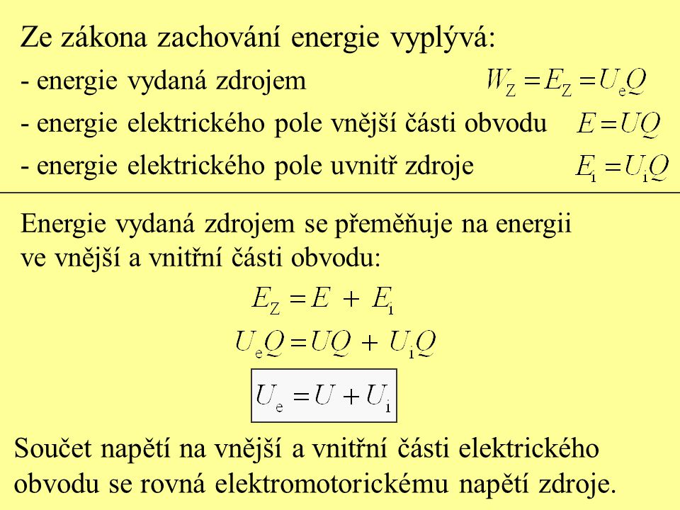Ze zákona zachování energie vyplývá: - energie vydaná zdrojem - energie elektrického pole vnější části obvodu - energie elektrického pole uvnitř zdroj