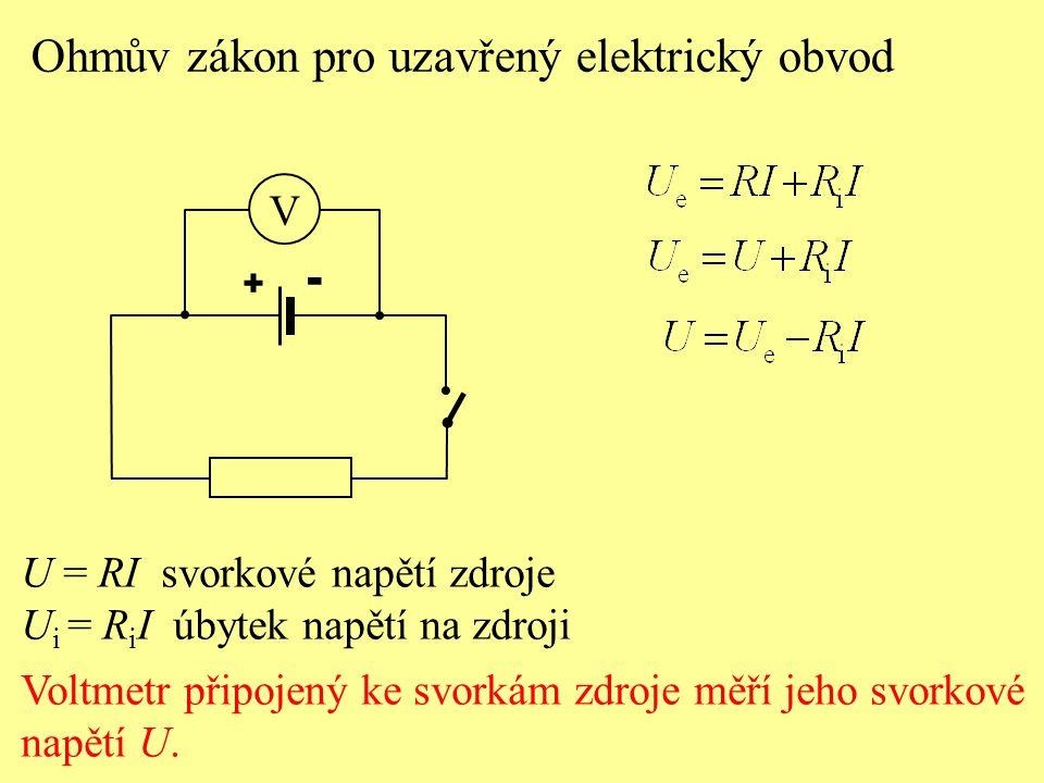 U = RI svorkové napětí zdroje U i = R i I úbytek napětí na zdroji Voltmetr připojený ke svorkám zdroje měří jeho svorkové napětí U. Ohmův zákon pro uz