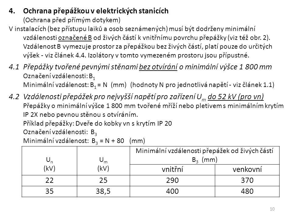 10 4.Ochrana přepážkou v elektrických stanicích (Ochrana před přímým dotykem) V instalacích (bez přístupu laiků a osob seznámených) musí být dodrženy