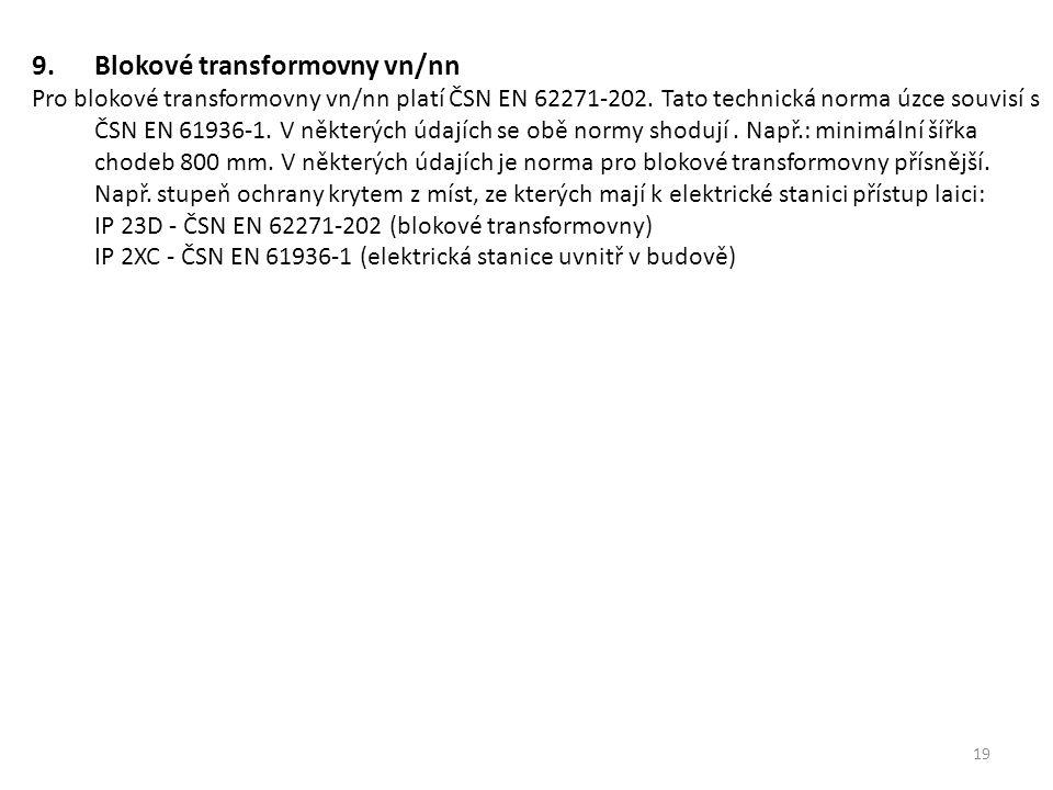 19 9.Blokové transformovny vn/nn Pro blokové transformovny vn/nn platí ČSN EN 62271-202. Tato technická norma úzce souvisí s ČSN EN 61936-1. V některý