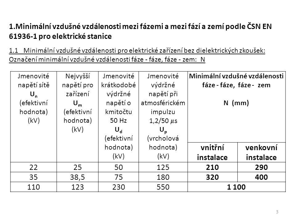 Jmenovité napětí sítě U n (efektivní hodnota) (kV) Nejvyšší napětí pro zařízení U m (efektivní hodnota) (kV) Jmenovité krátkodobé výdržné napětí o kmi