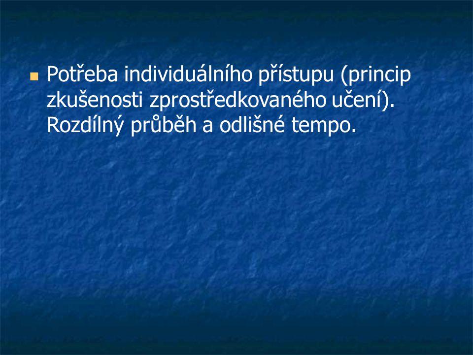  Potřeba individuálního přístupu (princip zkušenosti zprostředkovaného učení).