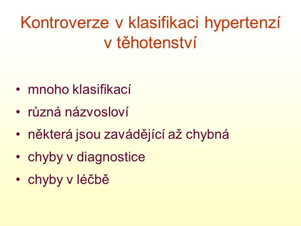 • mnoho klasifikací • různá názvosloví • některá jsou zavádějící až chybná • chyby v diagnostice • chyby v léčbě Kontroverze v klasifikaci hypertenzí