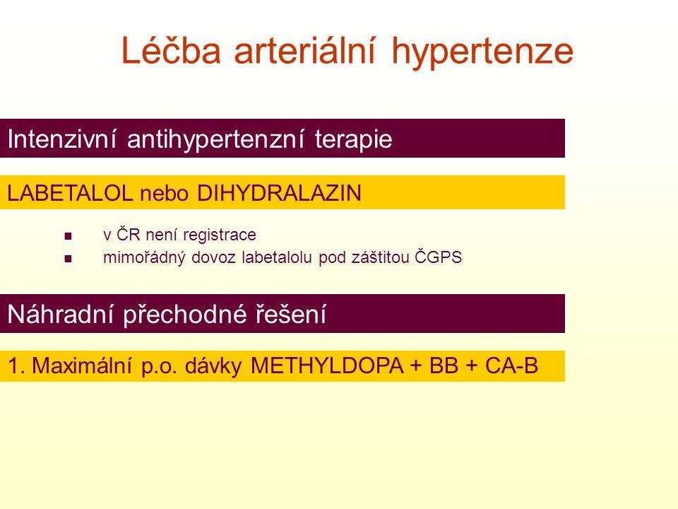  v ČR není registrace  mimořádný dovoz labetalolu pod záštitou ČGPS Intenzivní antihypertenzní terapie Náhradní přechodné řešení Léčba arteriální hy