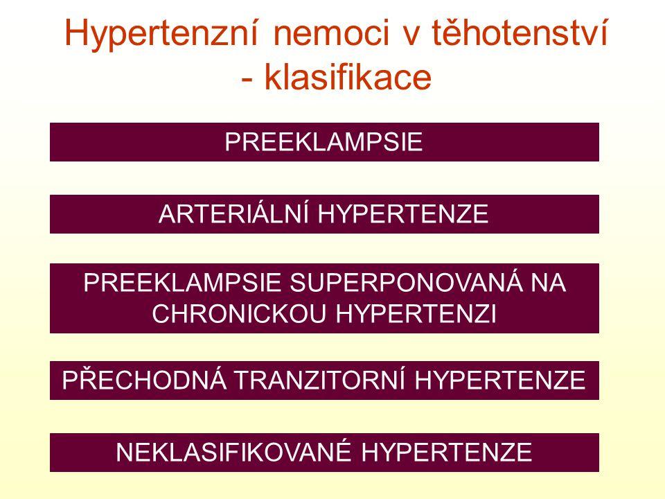 Hypertenzní nemoci v těhotenství - klasifikace PREEKLAMPSIE ARTERIÁLNÍ HYPERTENZE PREEKLAMPSIE SUPERPONOVANÁ NA CHRONICKOU HYPERTENZI PŘECHODNÁ TRANZITORNÍ HYPERTENZE NEKLASIFIKOVANÉ HYPERTENZE