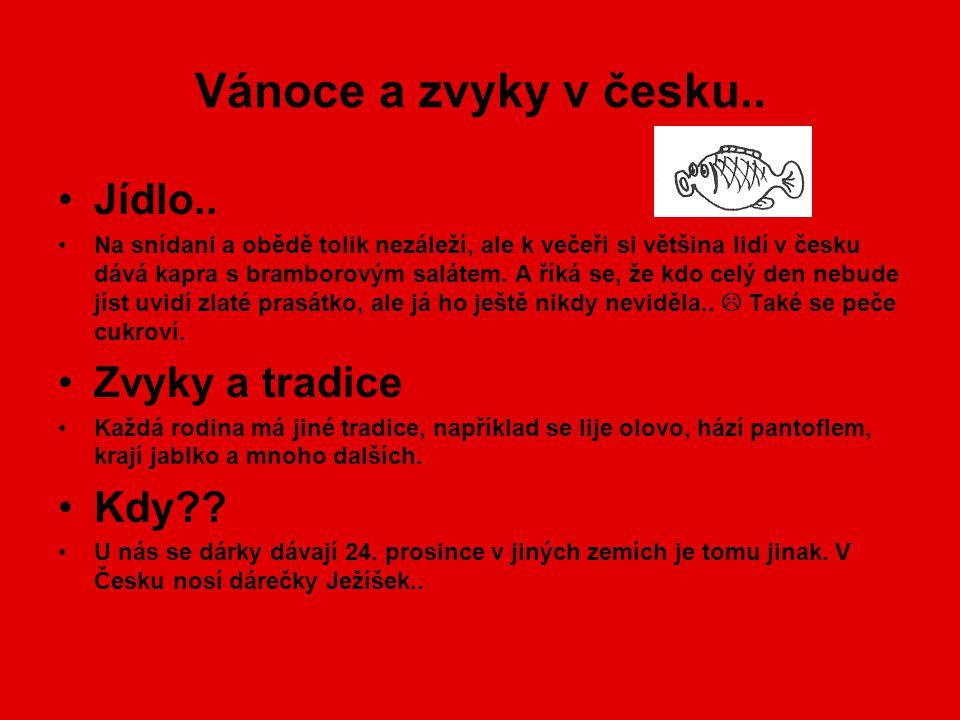 Vánoce a zvyky v česku.. •Jídlo.. •Na snídani a obědě tolik nezáleží, ale k večeři si většina lidí v česku dává kapra s bramborovým salátem. A říká se