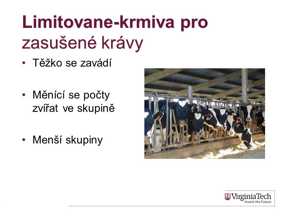 Limitovane-krmiva pro zasušené krávy •Těžko se zavádí •Měnící se počty zvířat ve skupině •Menší skupiny 27