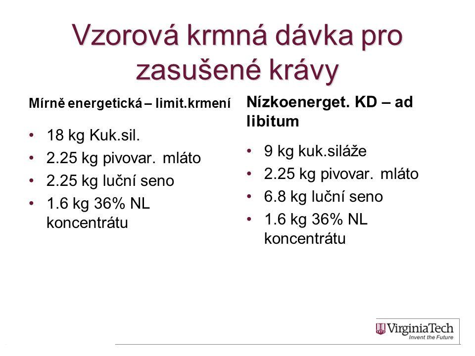 Vzorová krmná dávka pro zasušené krávy Mírně energetická – limit.krmení •18 kg Kuk.sil. •2.25 kg pivovar. mláto •2.25 kg luční seno •1.6 kg 36% NL kon