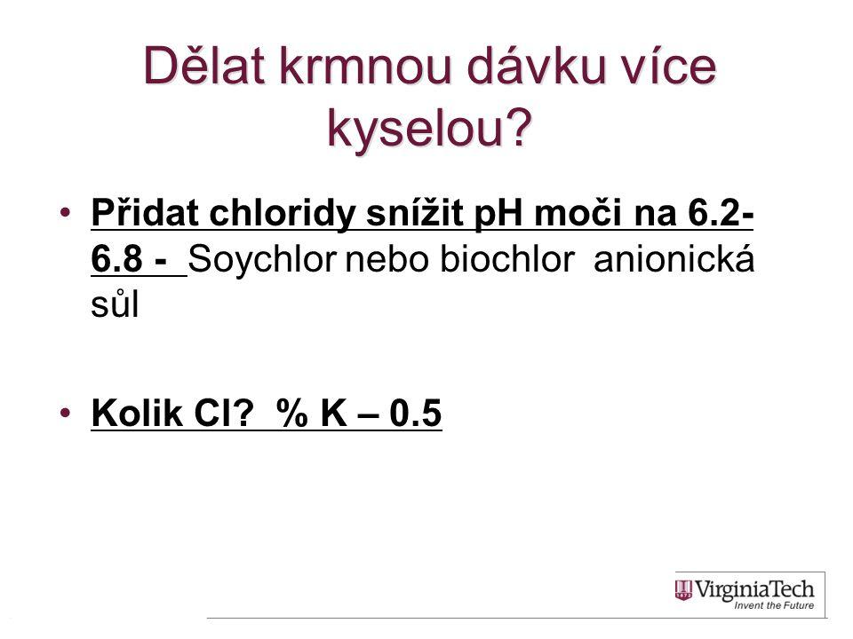 Dělat krmnou dávku více kyselou? •Přidat chloridy snížit pH moči na 6.2- 6.8 - Soychlor nebo biochlor anionická sůl •Kolik Cl? % K – 0.5 35