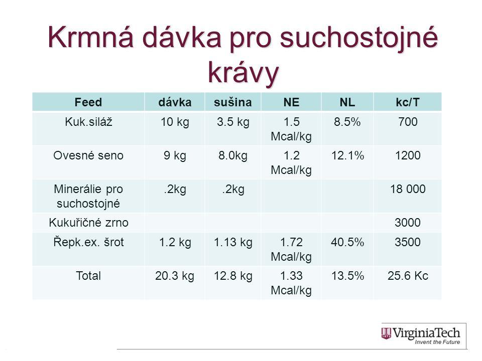 Krmná dávka pro suchostojné krávy FeeddávkasušinaNENLkc/T Kuk.siláž10 kg3.5 kg1.5 Mcal/kg 8.5%700 Ovesné seno9 kg8.0kg1.2 Mcal/kg 12.1%1200 Minerálie