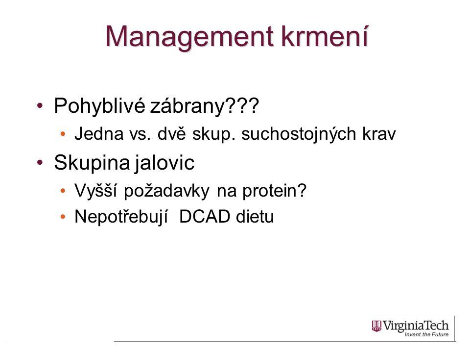 Management krmení •Pohyblivé zábrany??? • Jedna vs. dvě skup. suchostojných krav •Skupina jalovic • Vyšší požadavky na protein? • Nepotřebují DCAD die