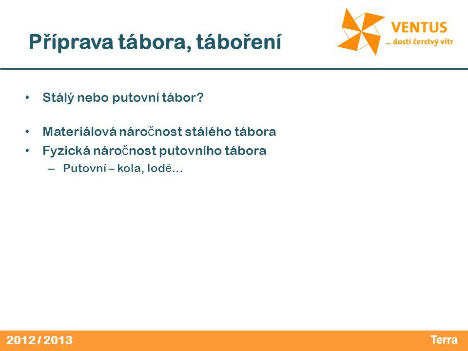 """2012 / 2013 Projekt """"Tábor • Zadání pro absolventy VK VENTUS 2012/13 v 1.0 • Zpracujte plán tábora, který plánujete uskute č nit."""