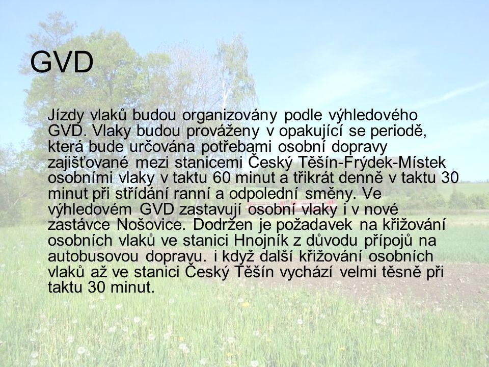GVD Jízdy vlaků budou organizovány podle výhledového GVD.