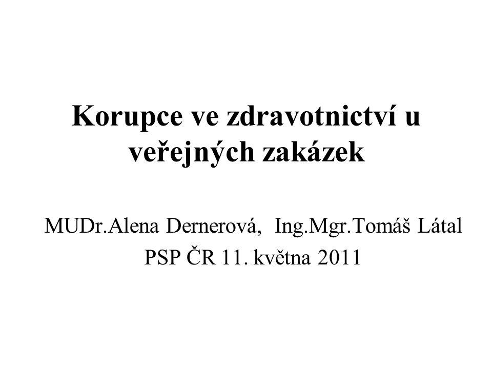 Korupce ve zdravotnictví u veřejných zakázek MUDr.Alena Dernerová, Ing.Mgr.Tomáš Látal PSP ČR 11. května 2011
