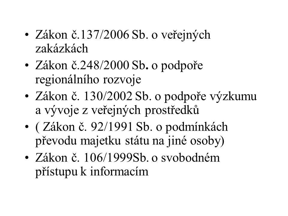•Zákon č.137/2006 Sb. o veřejných zakázkách •Zákon č.248/2000 Sb. o podpoře regionálního rozvoje •Zákon č. 130/2002 Sb. o podpoře výzkumu a vývoje z v