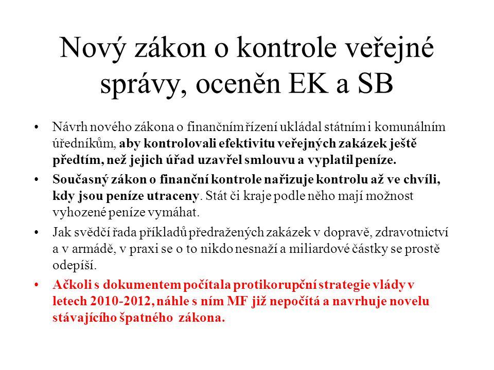 Nový zákon o kontrole veřejné správy, oceněn EK a SB •Návrh nového zákona o finančním řízení ukládal státním i komunálním úředníkům, aby kontrolovali