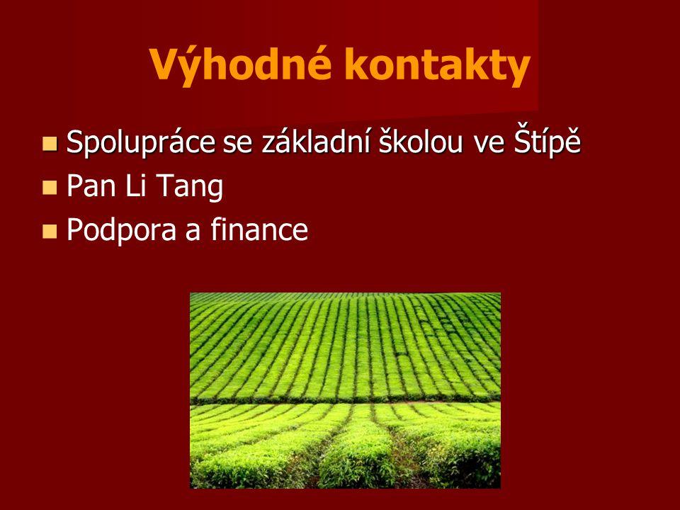 Výhodné kontakty  Spolupráce se základní školou ve Štípě   Pan Li Tang   Podpora a finance