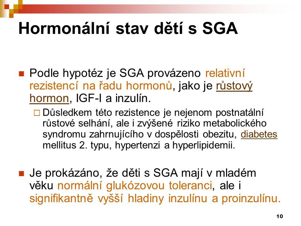 10 Hormonální stav dětí s SGA  Podle hypotéz je SGA provázeno relativní rezistencí na řadu hormonů, jako je růstový hormon, IGF-I a inzulín.růstový h