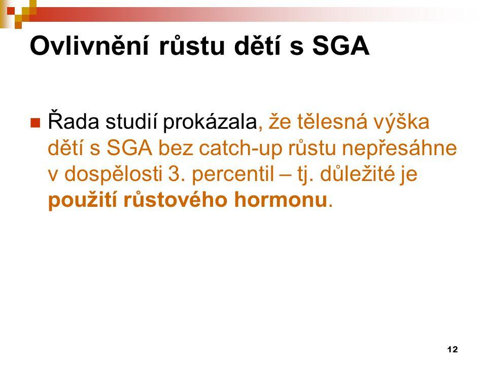 12 Ovlivnění růstu dětí s SGA  Řada studií prokázala, že tělesná výška dětí s SGA bez catch-up růstu nepřesáhne v dospělosti 3. percentil – tj. důlež