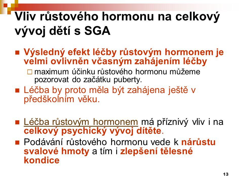 13 Vliv růstového hormonu na celkový vývoj dětí s SGA  Výsledný efekt léčby růstovým hormonem je velmi ovlivněn včasným zahájením léčby  maximum úči