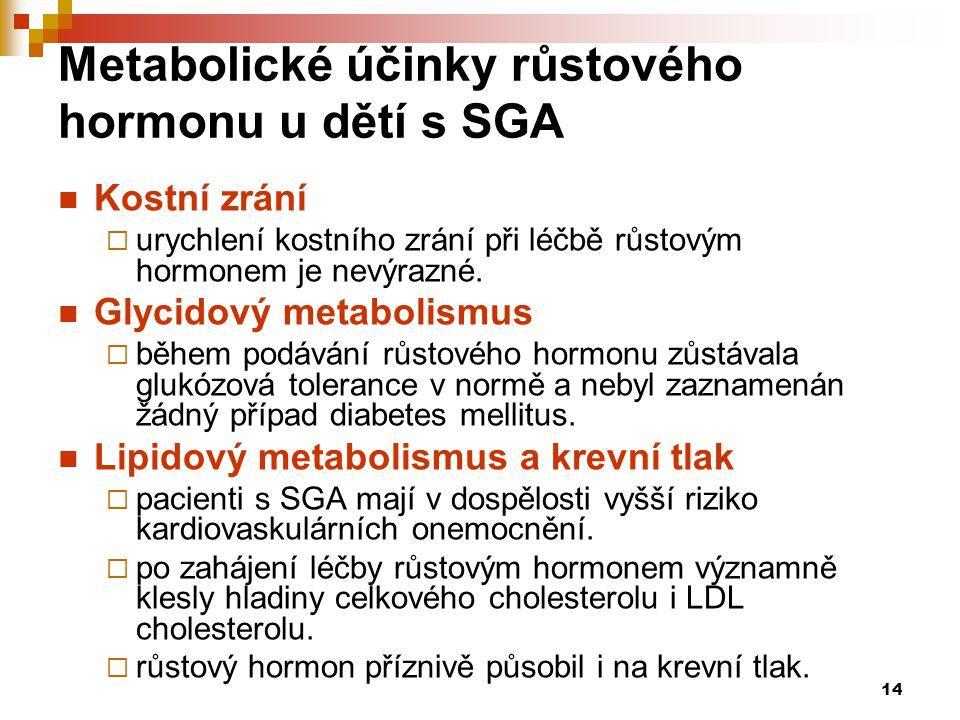 14 Metabolické účinky růstového hormonu u dětí s SGA  Kostní zrání  urychlení kostního zrání při léčbě růstovým hormonem je nevýrazné.  Glycidový m