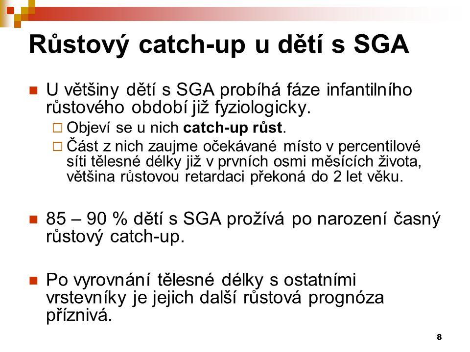 8 Růstový catch-up u dětí s SGA  U většiny dětí s SGA probíhá fáze infantilního růstového období již fyziologicky.  Objeví se u nich catch-up růst.