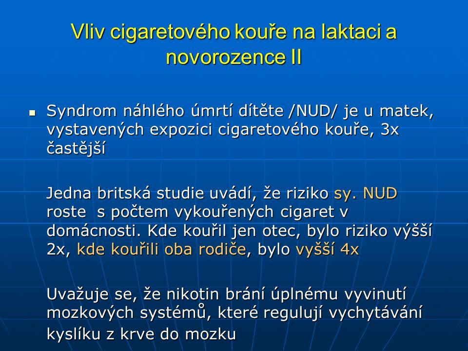 Vliv cigaretového kouře na laktaci a novorozence II  Syndrom náhlého úmrtí dítěte /NUD/ je u matek, vystavených expozici cigaretového kouře, 3x častější Jedna britská studie uvádí, že riziko sy.