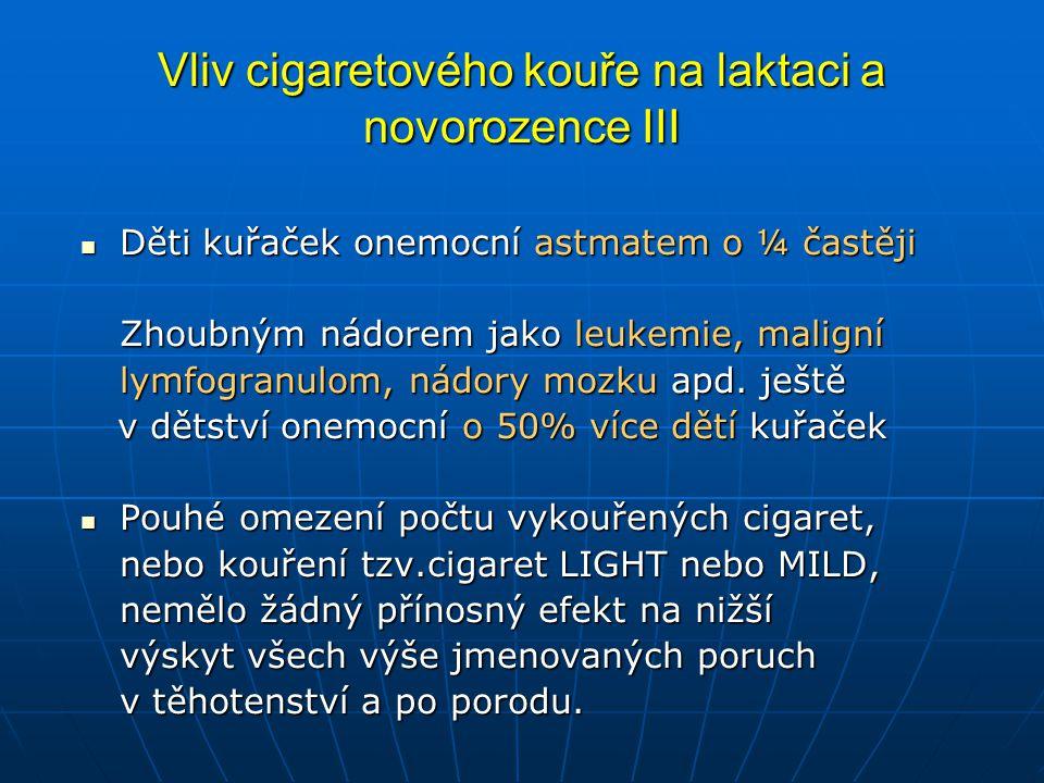 Vliv cigaretového kouře na laktaci a novorozence III  Děti kuřaček onemocní astmatem o ¼ častěji Zhoubným nádorem jako leukemie, maligní lymfogranulom, nádory mozku apd.