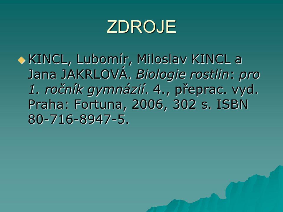ZDROJE  KINCL, Lubomír, Miloslav KINCL a Jana JAKRLOVÁ. Biologie rostlin: pro 1. ročník gymnázií. 4., přeprac. vyd. Praha: Fortuna, 2006, 302 s. ISBN
