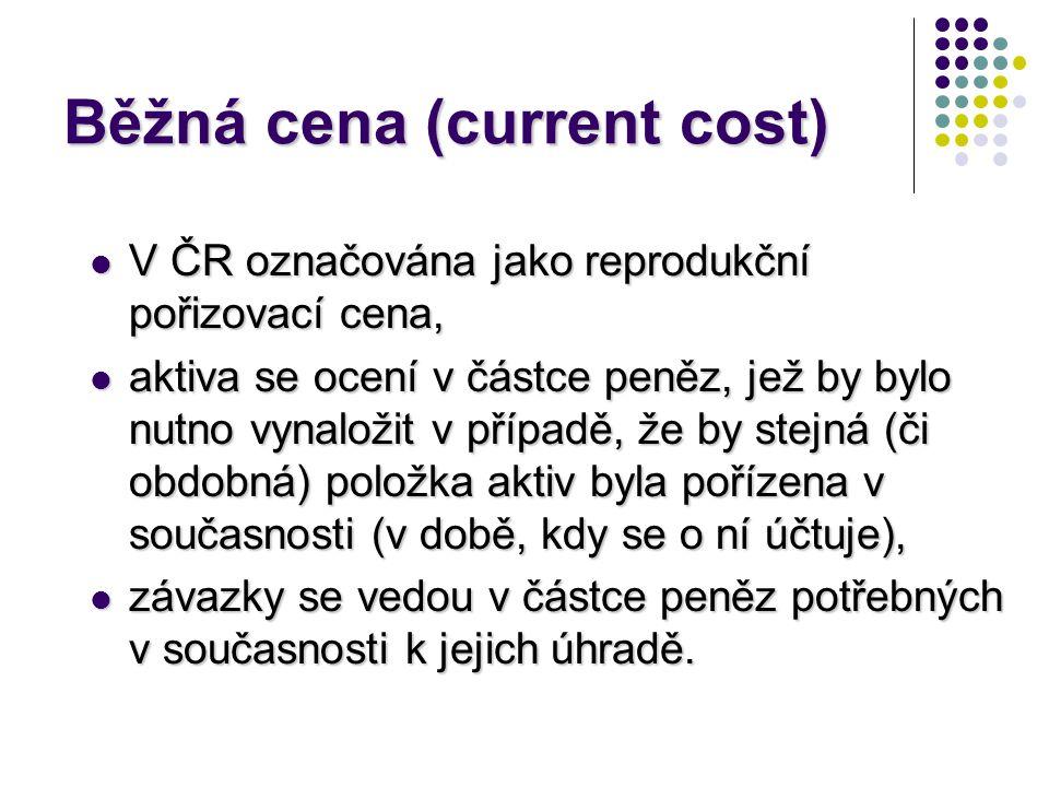 Běžná cena (current cost)  V ČR označována jako reprodukční pořizovací cena,  aktiva se ocení v částce peněz, jež by bylo nutno vynaložit v případě,