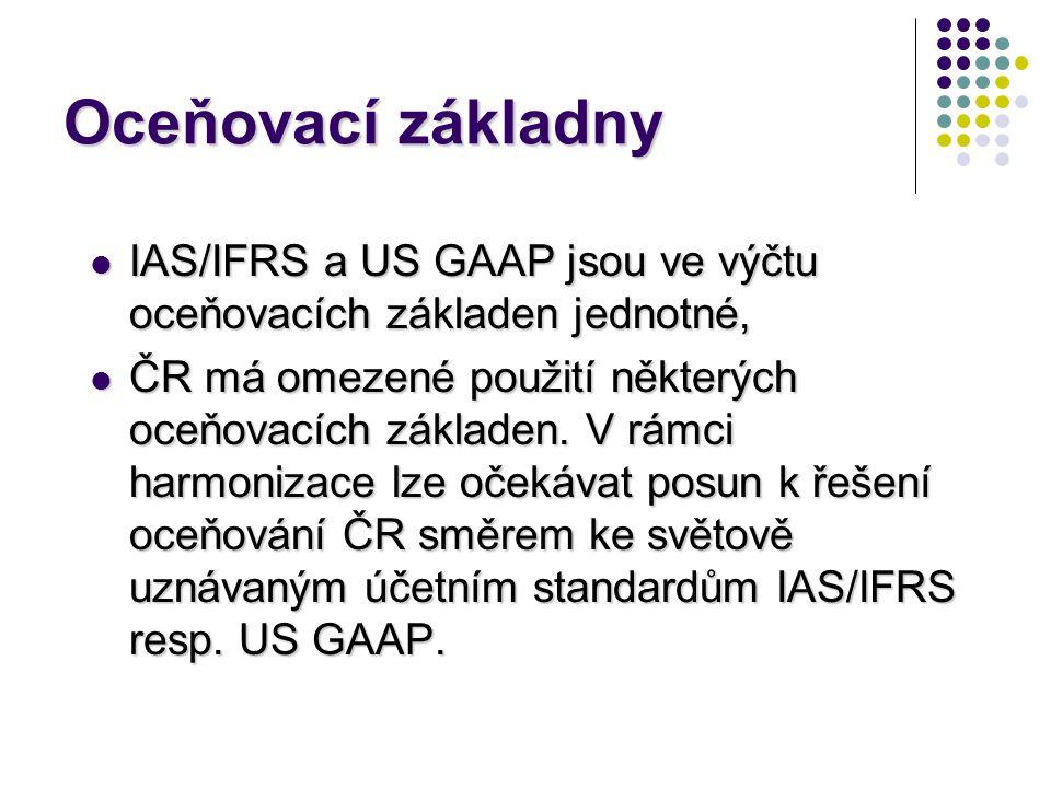 Oceňovací základny  IAS/IFRS a US GAAP jsou ve výčtu oceňovacích základen jednotné,  ČR má omezené použití některých oceňovacích základen. V rámci h