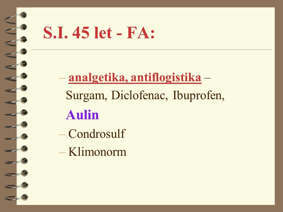 S.I. 45 let - FA: –analgetika, antiflogistika – Surgam, Diclofenac, Ibuprofen, Aulin –Condrosulf –Klimonorm