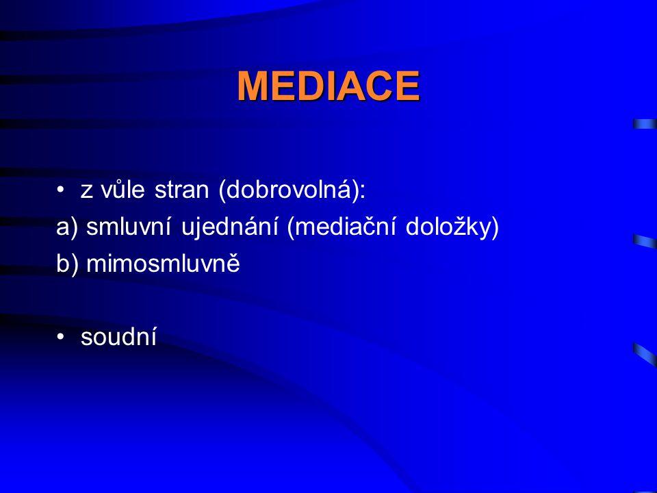 MEDIACE •z vůle stran (dobrovolná): a) smluvní ujednání (mediační doložky) b) mimosmluvně •soudní