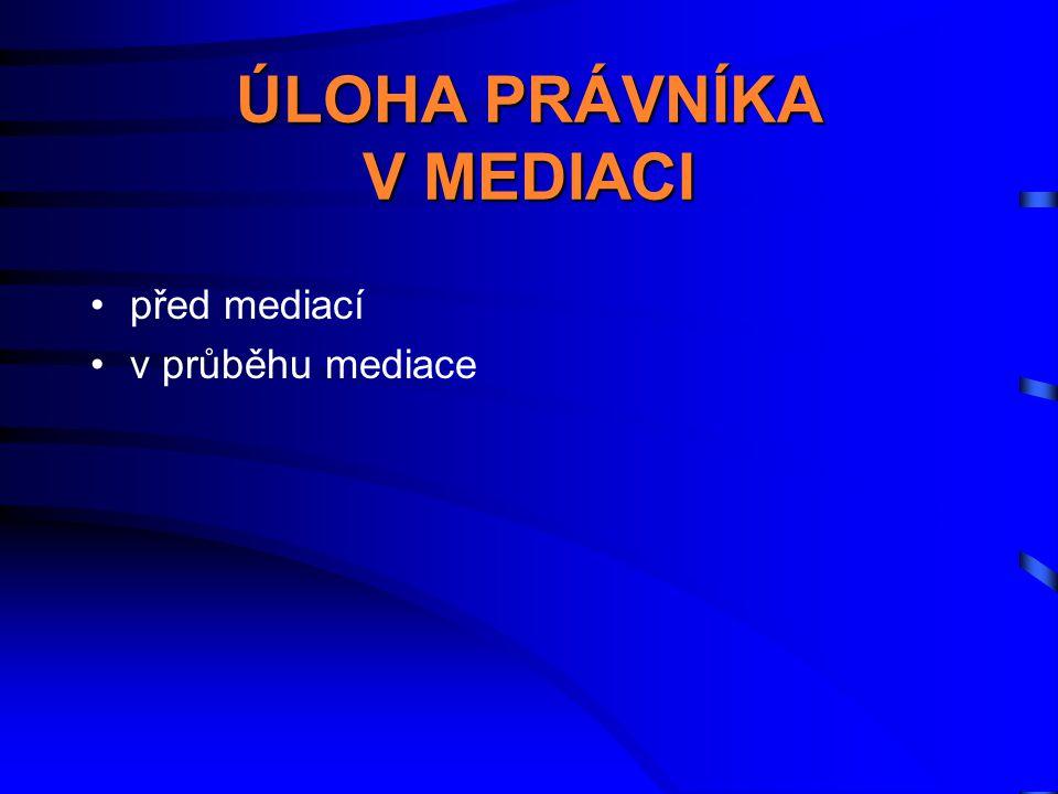 ÚLOHA PRÁVNÍKA V MEDIACI •před mediací •v průběhu mediace