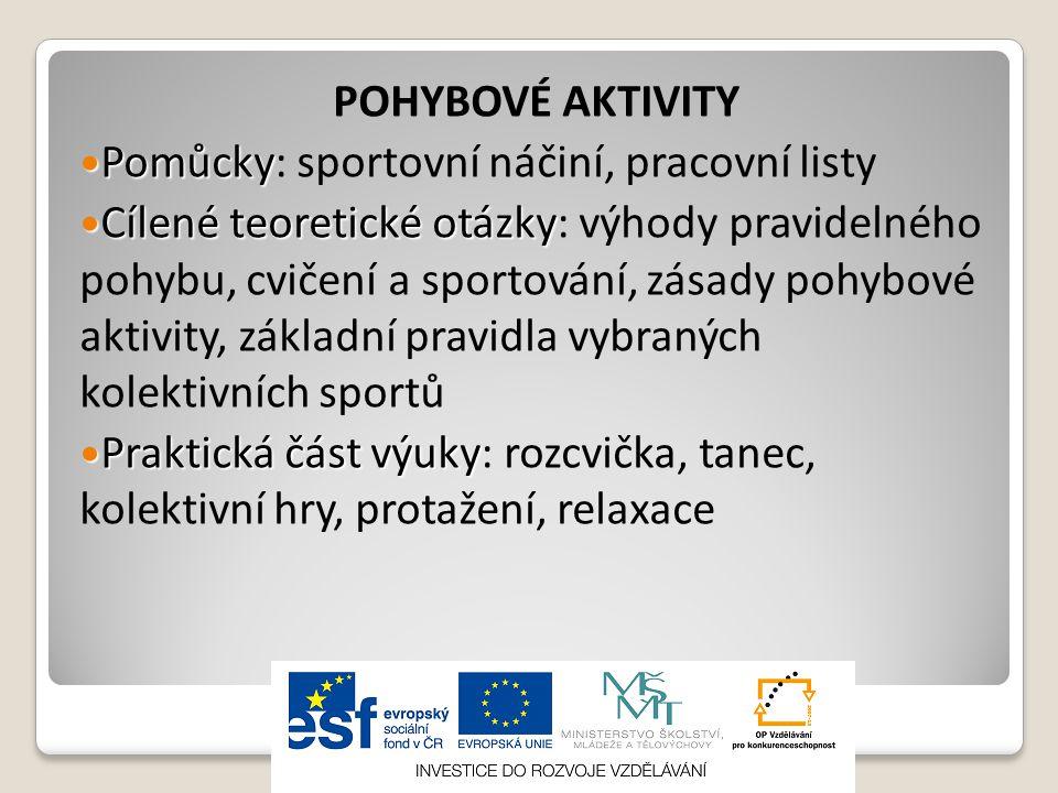 POHYBOVÉ AKTIVITY  Pomůcky  Pomůcky: sportovní náčiní, pracovní listy  Cílené teoretické otázky  Cílené teoretické otázky: výhody pravidelného pohybu, cvičení a sportování, zásady pohybové aktivity, základní pravidla vybraných kolektivních sportů  Praktická část výuky  Praktická část výuky: rozcvička, tanec, kolektivní hry, protažení, relaxace